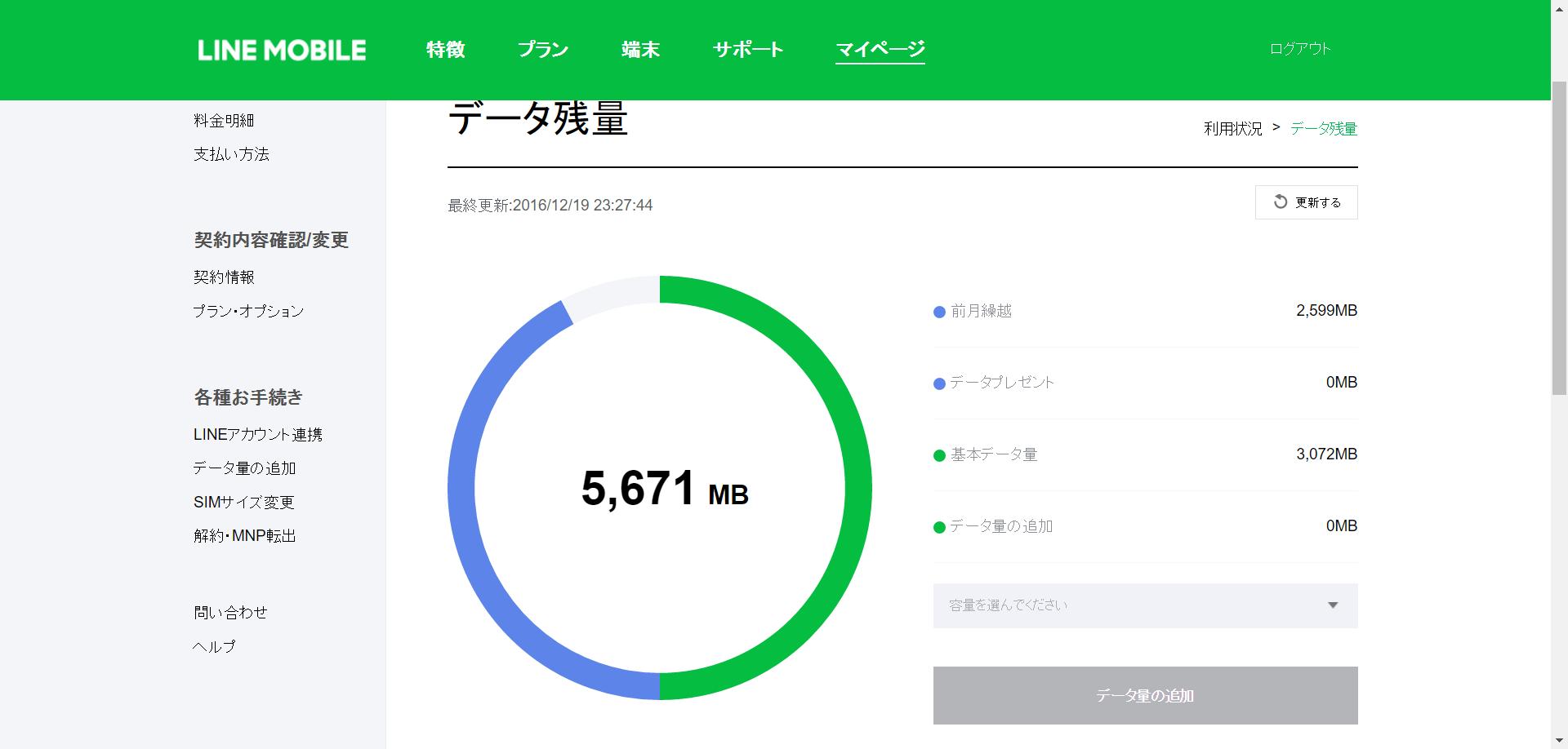 Lineモバイルマイページ