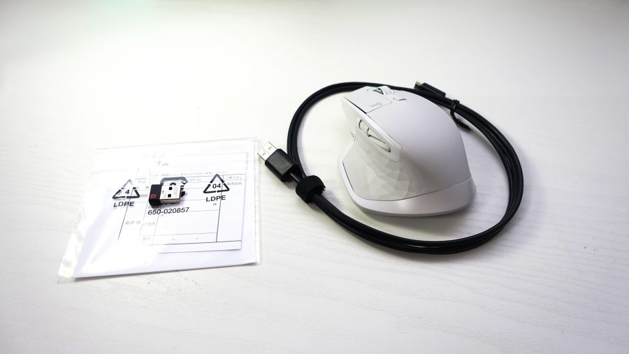 MX MASTER 2S本体と付属品のUnifyingレシーバー・ケーブル