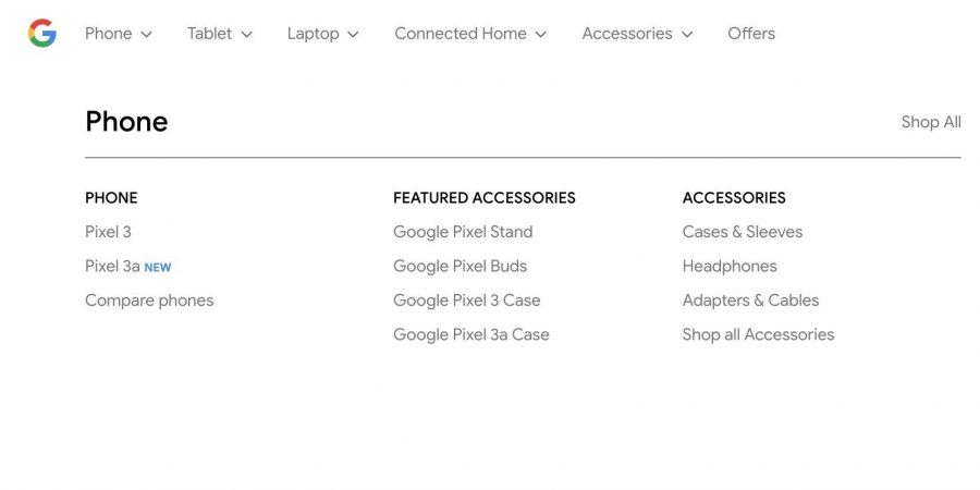 Googleストアに掲載されたPixel 3a