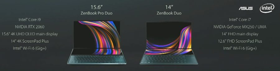 15.6型と14型の「ZenBook Pro Duo」