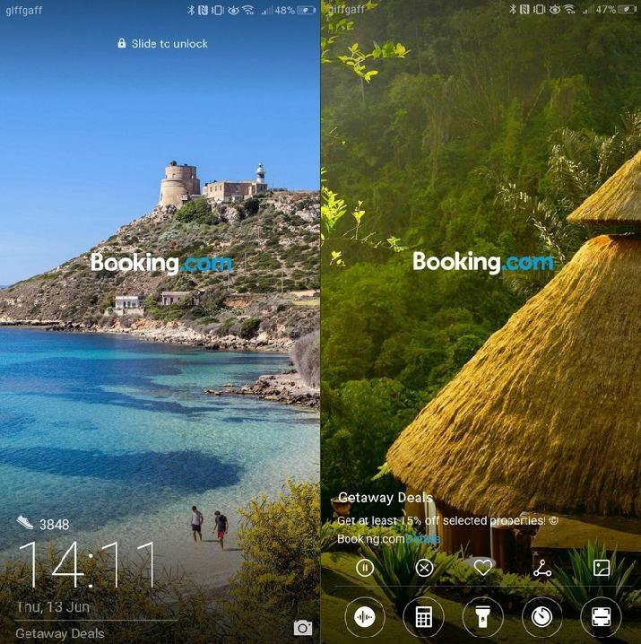 Huawei製スマホのロック画面に現れた広告