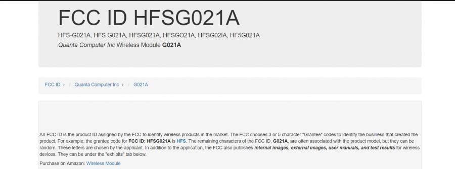 FCC IDは「HFSG021A」