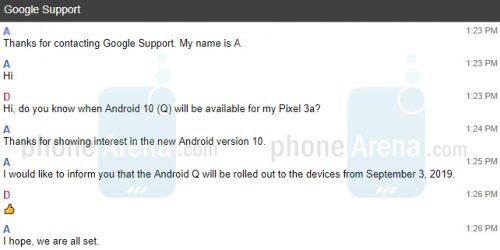 Googleサポートチャットの内容。Android 10が9月3日に配信予定