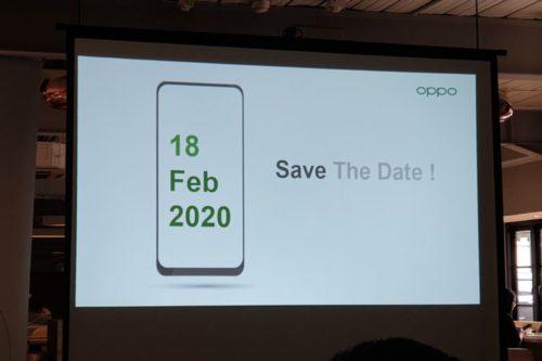 OPPOの発表会を知らせるスライド