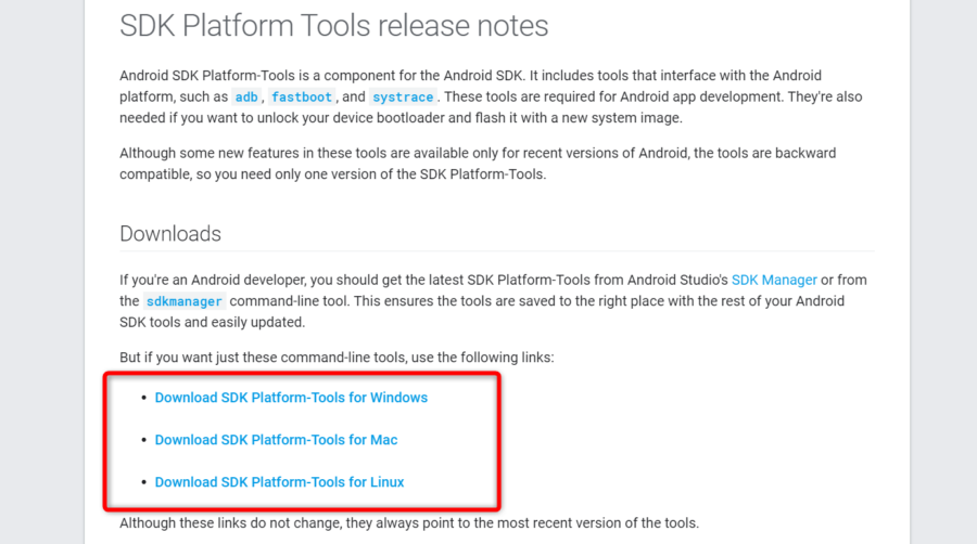 Android SDK Platform-Toolsの公開ページ