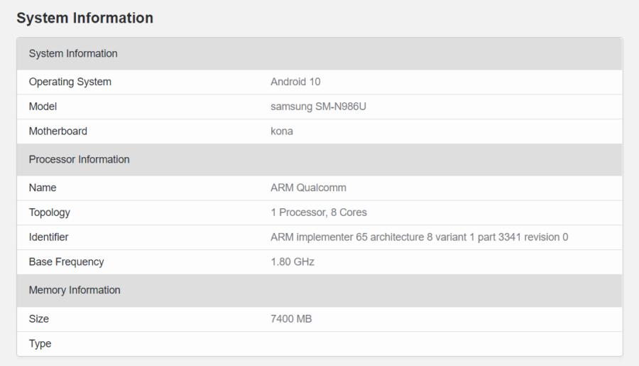 Galaxy Note20+とされるSM-N986Uのスペック