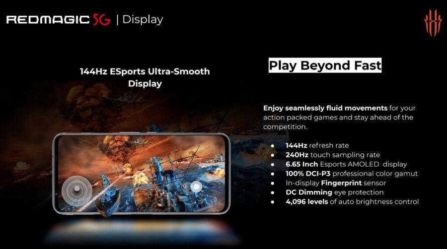Red Magic 5Gのディスプレイは144Hzのリフレッシュレートに対応