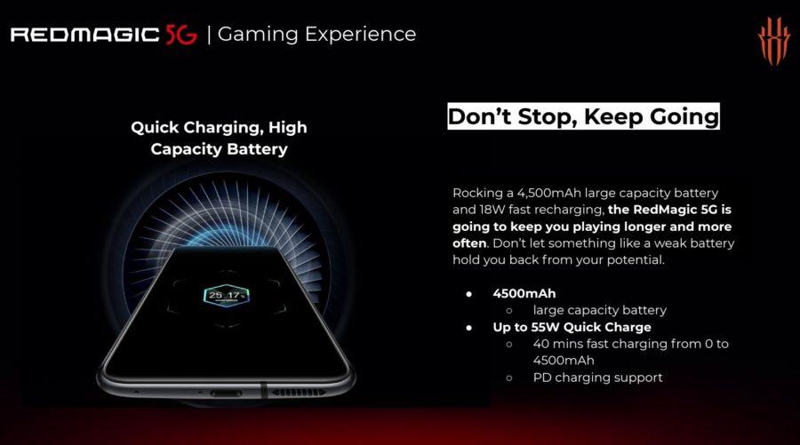 Red Magic 5Gのバッテリー