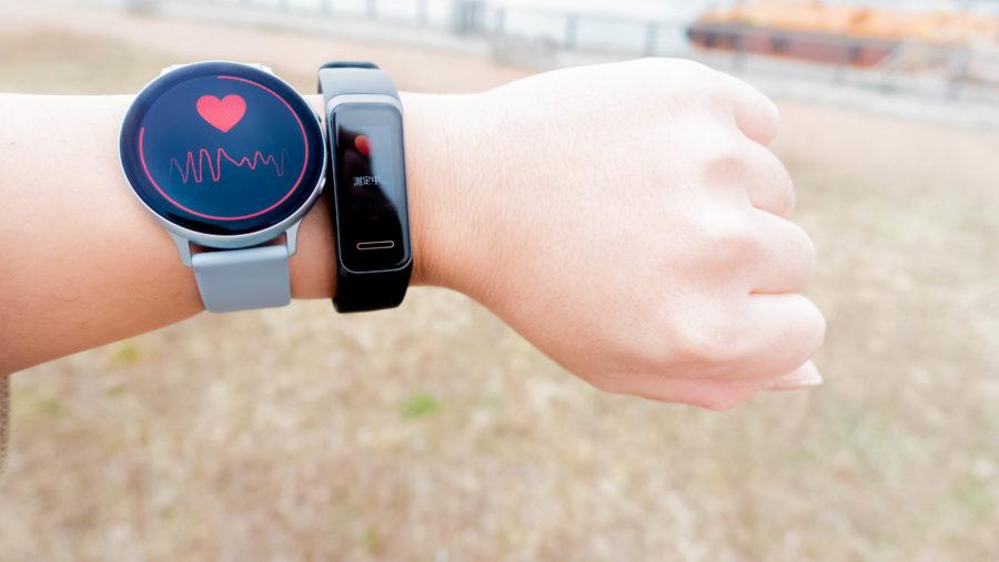 HUAWEI Band 4とGalaxy Watch Active2で心拍数の測定