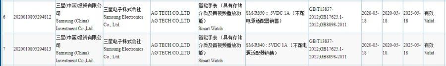 認証機関3Cに掲載されているGalaxy Watchと思われる型番