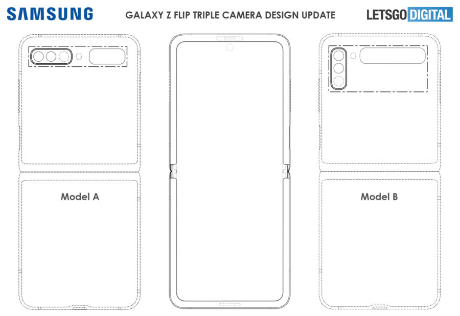 次期Galaxy Z Flipのトリプルカメラ2パターン