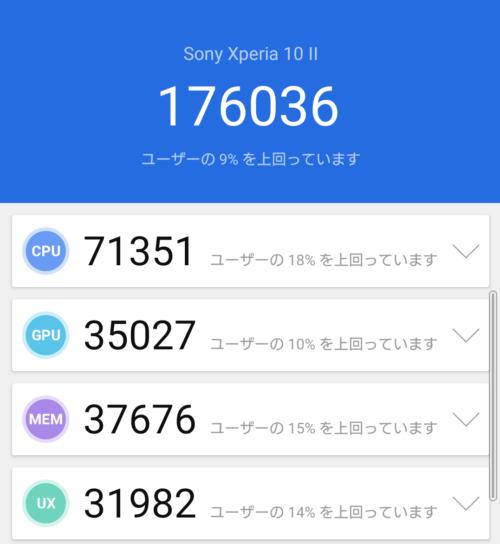 Xperia 10 IIのAntutuベンチマークスコア