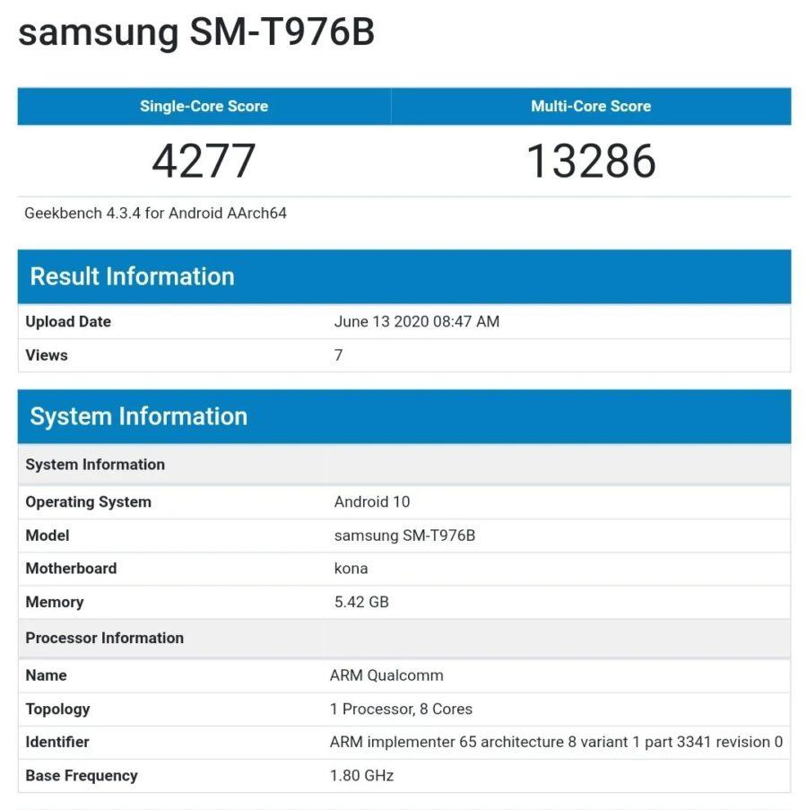 Galaxy Tab S7+のGeekbenchのベンチマークスコア