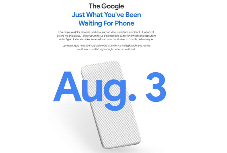 ティザーサイトに掲載されたPixel 4aと思われるスマートフォンのシルエット