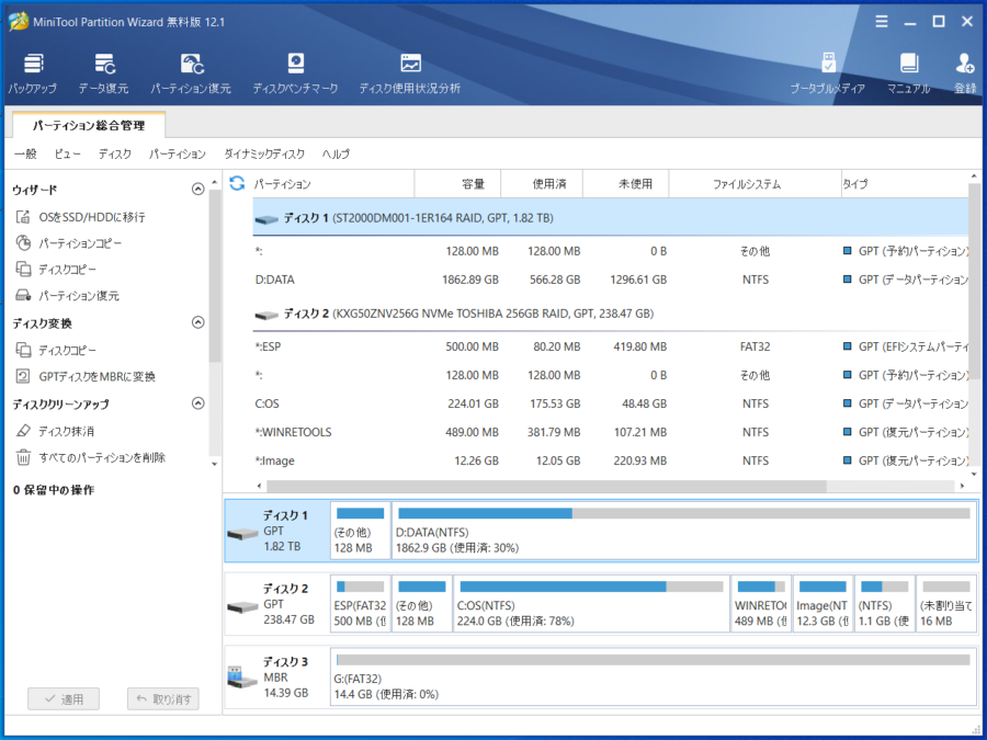 「MiniTool Partition Wizard」の起動画面