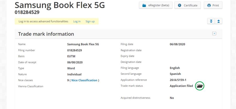「Samsung Book Flex 5G」の商標