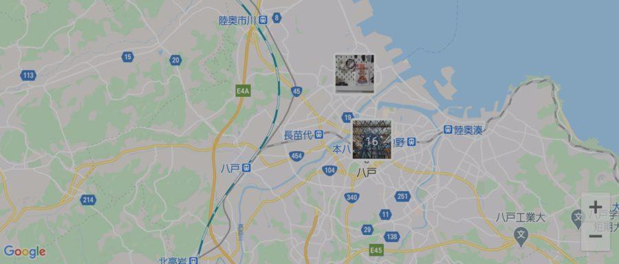位置情報入り写真をマップに一覧表示可能