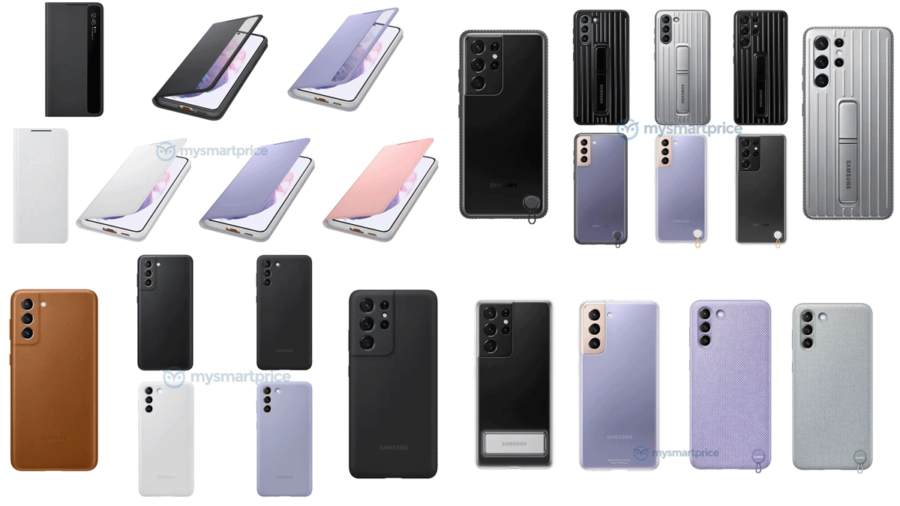 Galaxy S21シリーズの純正ケースのレンダリング画像