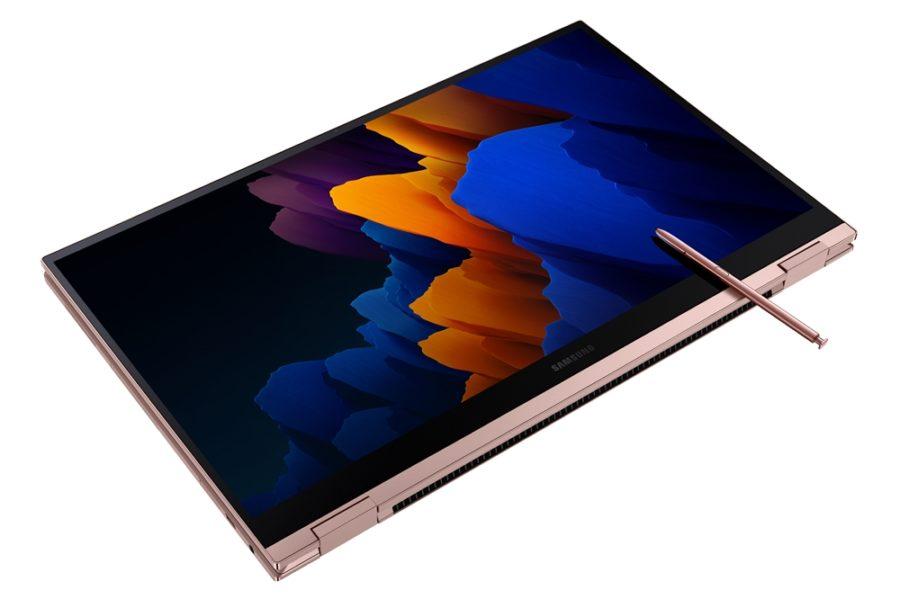360°折り返した状態のGalaxy Book Flex2