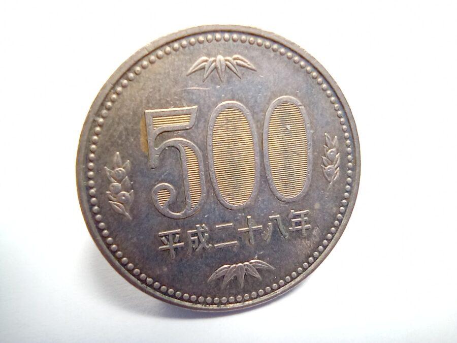 マクロカメラで撮影した500円玉