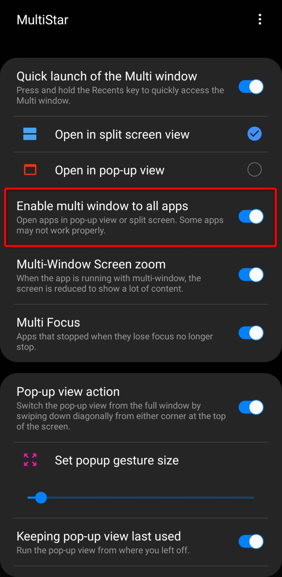 Enable multi window to all appsの設定