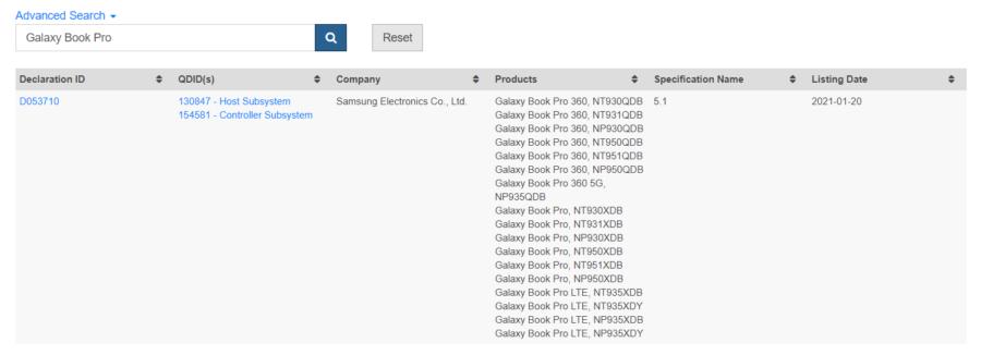 Bluetooth認証に表示された「Galaxy Book Pro」「Galaxy Book Pro360」