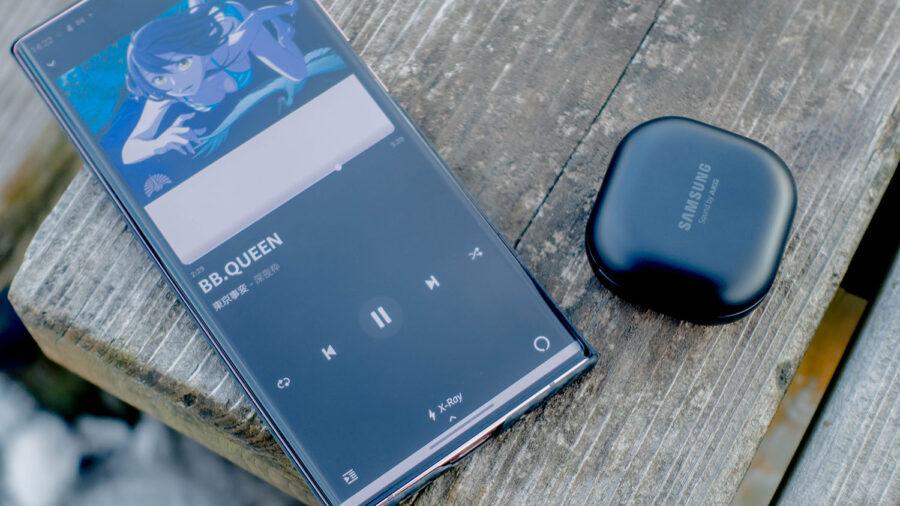 Galaxy Buds Proで音楽を再生している様子
