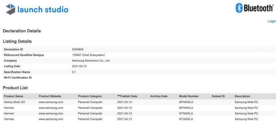 Bluetooth認証を通過したGalaxy Book Pro
